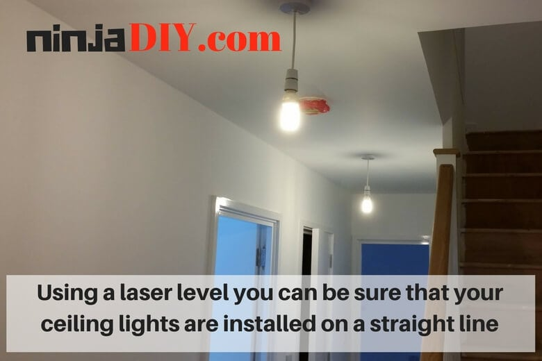 using a laser level for ceiling work it makes the job easier
