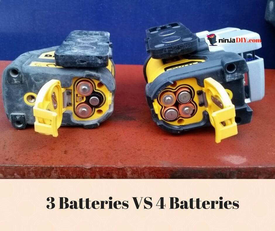 dewalt088k is using 3 batteries and dw089k is using 4