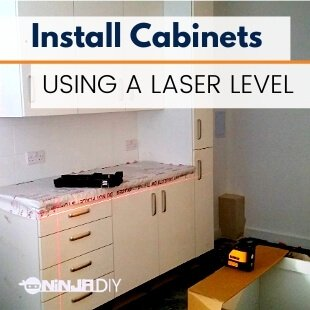a kitchen in which we've used a laser level to install the new cabinets nice and leveled
