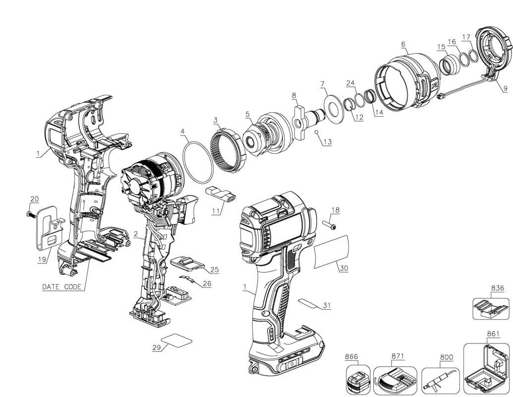 diagram of the dewalt dcf887 impact drill for parts
