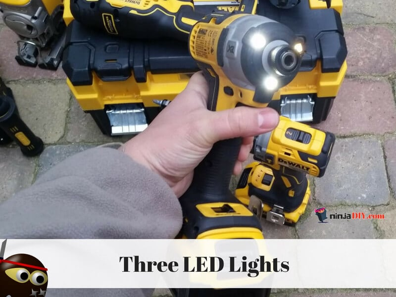 dewalt dcf887 impact screw driver is equipped with three LED lights that illuminate your work area
