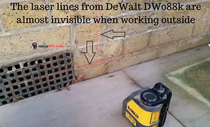 a red beam laser level is not as visible as a green laser level beam