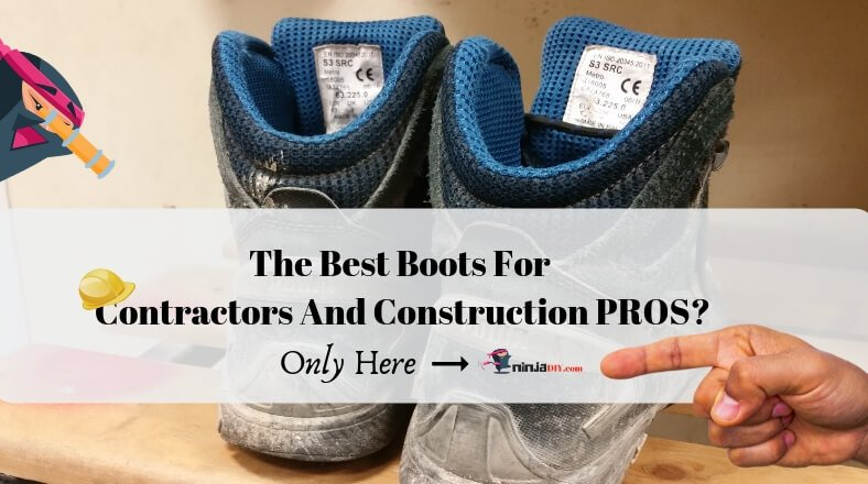 pair of construction worker safety boots