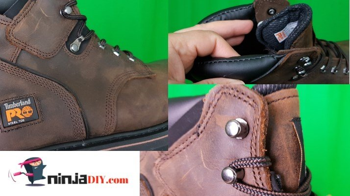 a collection of different pictures showing the great quality of the timberland pro pit-boss work boot