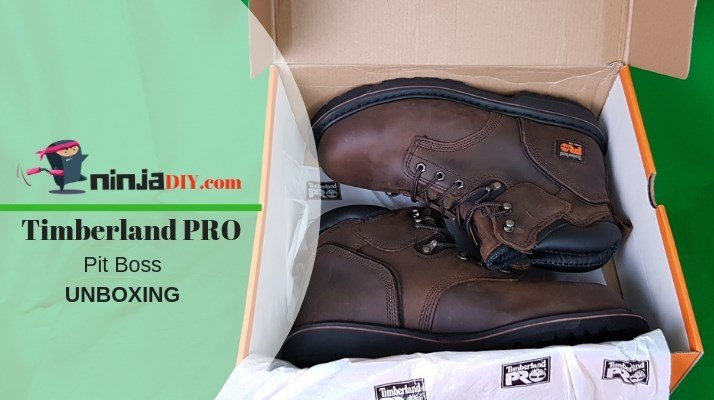 i'm opening the box of my new work boots timberland