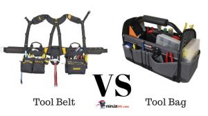 a tool belt next to a tool bag